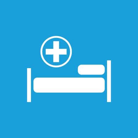 polyclinic: Hospital bed icon, white simple image isolated on blue background