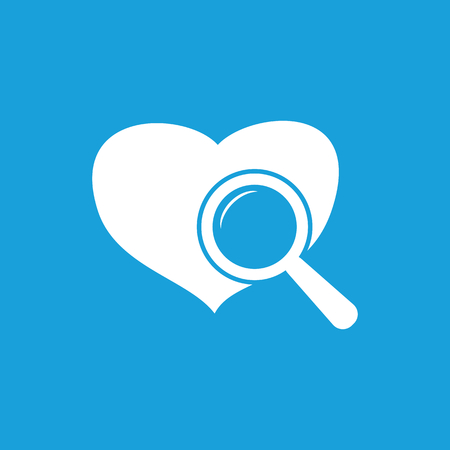 Heart checkup icon, white simple image isolated on blue background Illustration