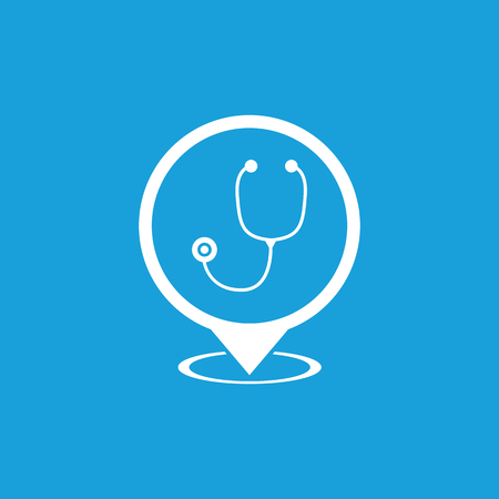specialised: Doctor map marker icon, white simple image isolated on blue background