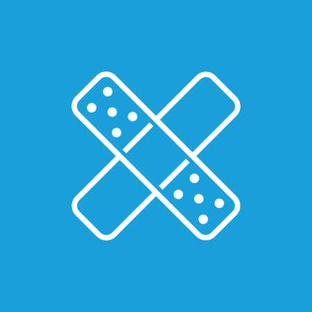 Crossed plaster icon, white simple image isolated on blue background