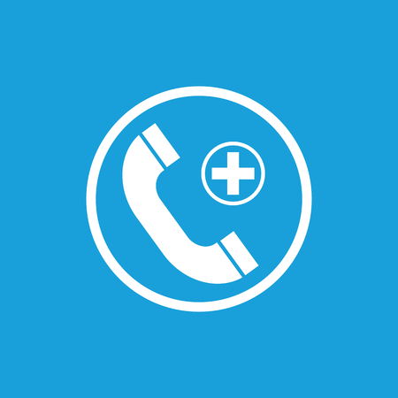 general insurance: Call hospital icon, white simple image isolated on blue background