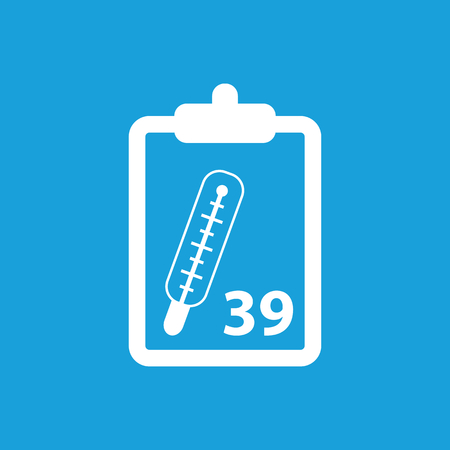 registry: Temperature measurement icon, white simple image isolated on blue background