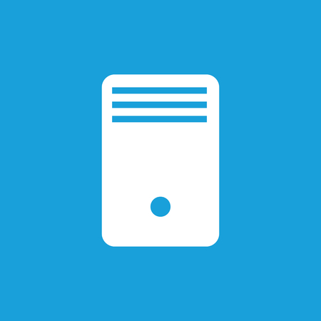 computer case: Computer case icon, white simple image isolated on blue background