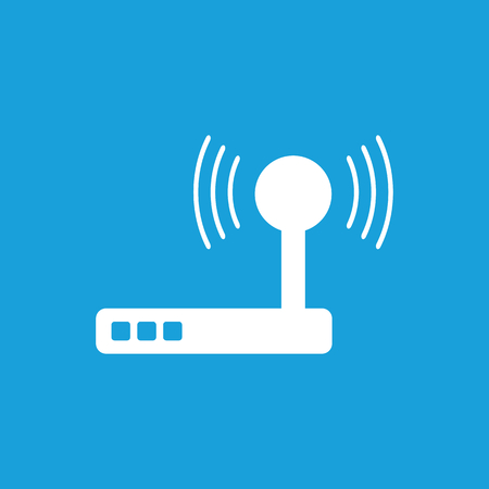 provider: Wi-Fi router icon, white simple image isolated on blue background Illustration
