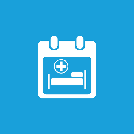 firstaid: Hospital calendar icon, white simple image isolated on blue background
