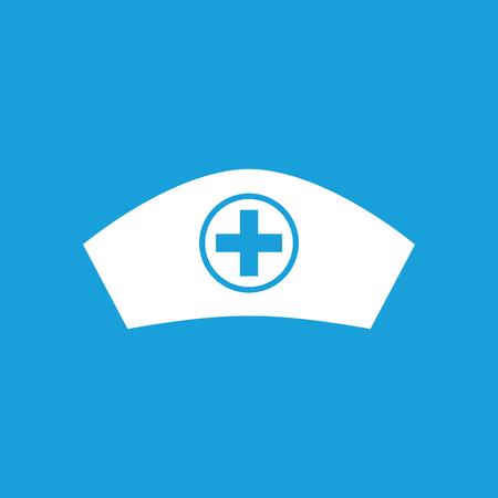 enfermera con cofia: Icono de la enfermera gorra, simple imagen blanca aislada sobre fondo azul Vectores
