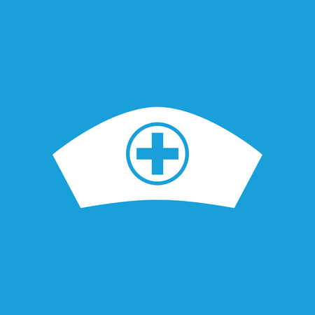 polyclinic: Nurse cap icon, white simple image isolated on blue background Illustration
