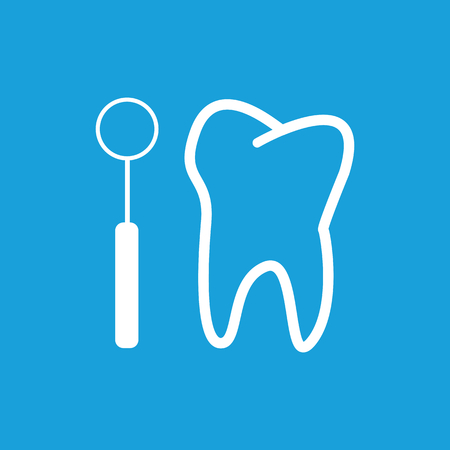 checkup: Tooth checkup icon, white simple image isolated on blue background Illustration