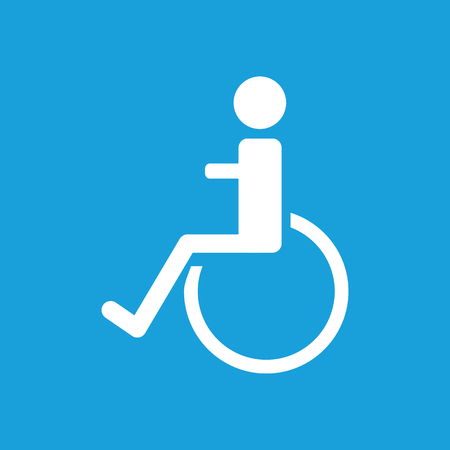 polyclinic: Disabled icon, white simple image isolated on blue background Illustration