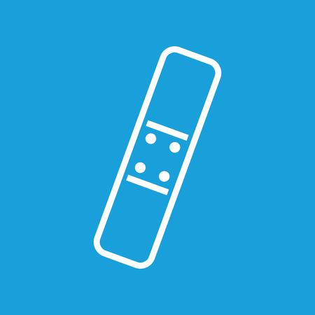 adhesive plaster: Plaster icon, white simple image isolated on blue background