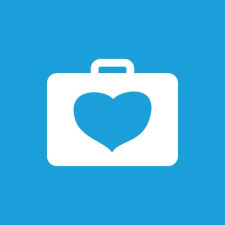 cardiological: Cardiology toolbox icon, white simple image isolated on blue background Illustration