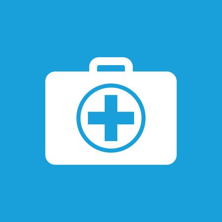 primeros auxilios: En primer icono de botiquín, simple imagen blanca aislada sobre fondo azul
