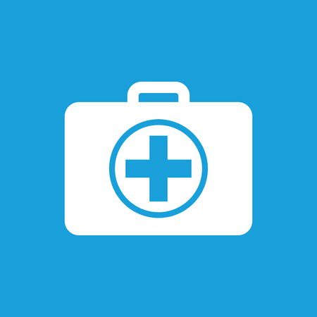 at first: First aid kit icon, white simple image isolated on blue background Illustration