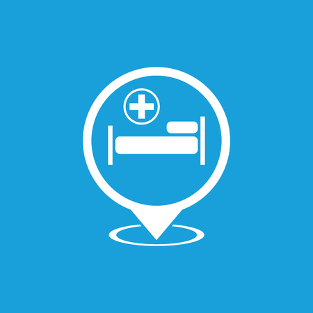 firstaid: Hospital map pointer icon, white simple image isolated on blue background