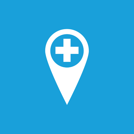 polyclinic: First aid marker icon, white simple image isolated on blue background