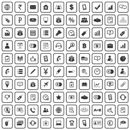 100 business icons set, black, on white background