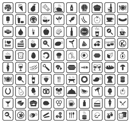 alimentos y bebidas: 100 alimentos y bebidas iconos set, simple imagen negro establecen en el fondo blanco