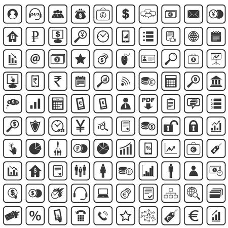 b2b: 100 B2B icons set, simple black images on white background