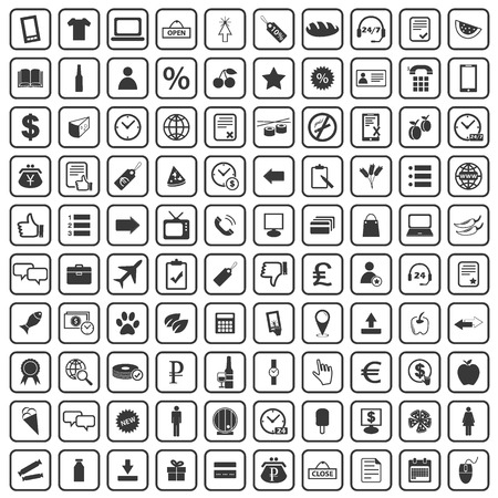 icon collection: 100 Shop icons set, simple black images on white background Illustration