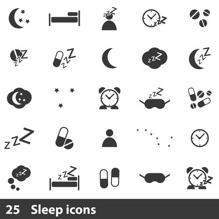 sleeping pills: 25 sleep icons set. Simple black icons isolated on a white