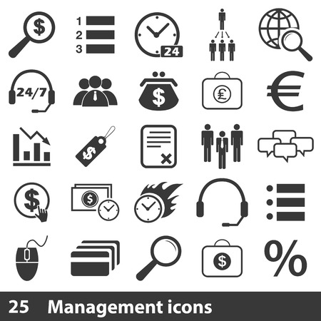 doings: 25 management simple icons set on a white background Illustration