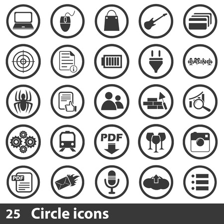 post office building: 25 simple black icons set for web and mobile devices
