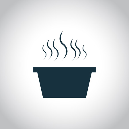 main course: Hot dish with steam. Black icon isolated on a white background