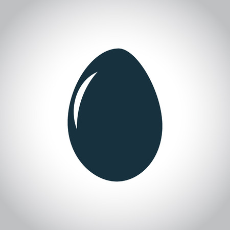 chicken and egg: Egg flat black icon on a white background