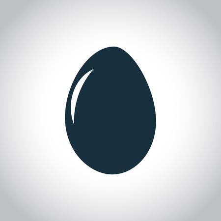 huevo: Huevo icono negro plano sobre un fondo blanco Vectores