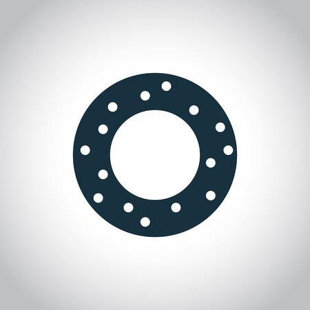 sinker: Donut flat black icon isolated on a white background Illustration