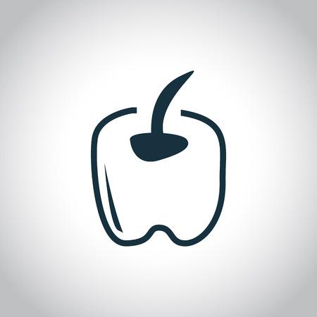 capsaicin: Pepper black icon on a white background Illustration
