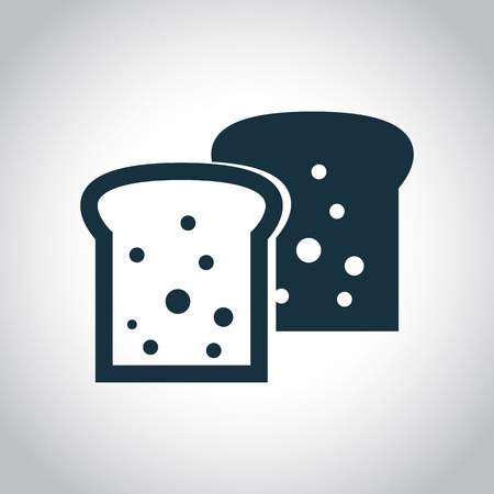wheat toast: 2 toasts black flat icon. Sliced bread piece sign. Illustration