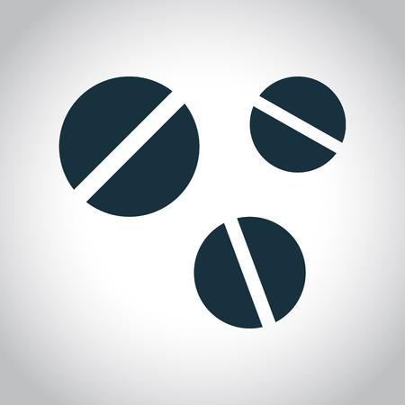 pastillas: 3 pastillas redondas icono. Símbolo plana negro aislado en un fondo blanco