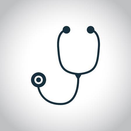 estetoscopio corazon: Estetoscopio icono negro plana aislado en un fondo blanco Vectores