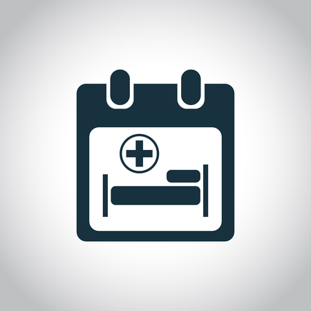 polyclinic: Hospitalize calendar icon. Black simple image isolated on white background Illustration