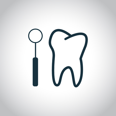 checkup: Tooth checkup icon. Black flat icon isolated on a white background