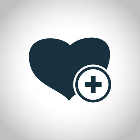 medical symbol: Heart and cross medical symbol. Black flat icon isolated on a white background