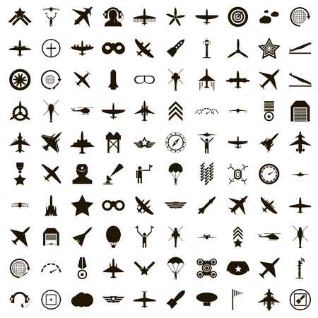 100 aviation icons set in simple style on a white background