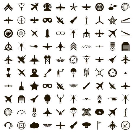 100 Luftfahrt-Symbole in einfachen Stil auf einem weißen Hintergrund Standard-Bild - 54058600