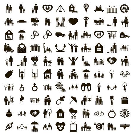 100 familie pictogrammen die in eenvoudige stijl op een witte achtergrond
