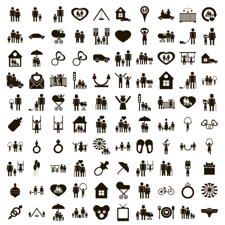 100 family icons set in simple style on a white background