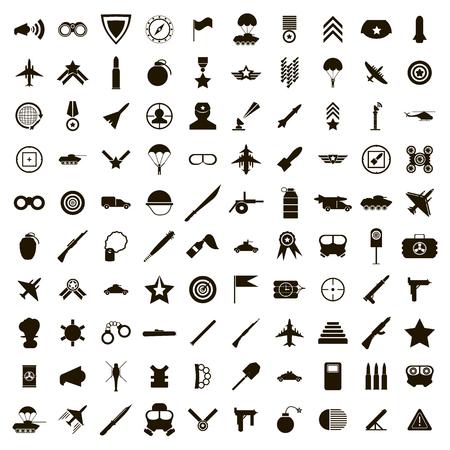 100 military icons set in simple style on a white background