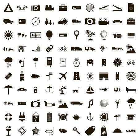 100 icônes de voyage établis dans un style simple pour toute conception