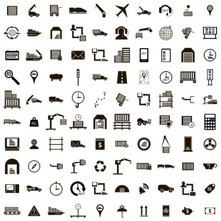 100 icone logistico messo in uno stile semplice isolato su bianco Vettoriali