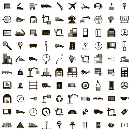 100 Logistics icons set in simple style isolated on white Vector Illustration