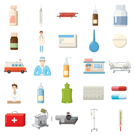 drugs pills: Medicine equipment icons set in cartoon style on a white background Illustration