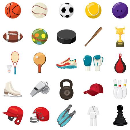 deportes caricatura: Iconos del juego del deporte ubicado en el estilo de dibujos animados sobre un fondo blanco