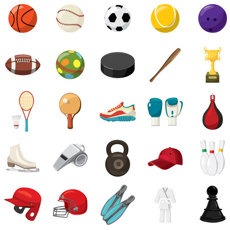Sport game icons set in cartoon style on a white background Ilustração