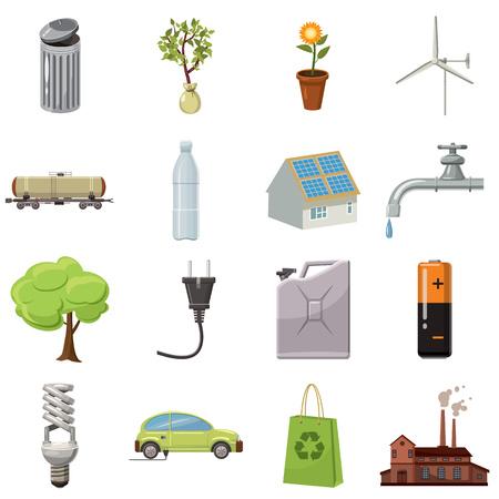 ecology icons: Ecology icons set in cartoon style isolated on white background