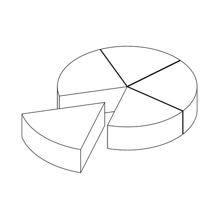 segmented: Segmented diagram icon in isometric 3d style isolated on white background